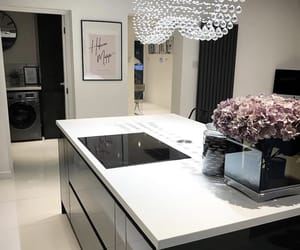 flowers, kitchen, and marble image