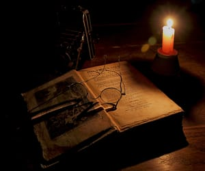 antique, candle, and glasses image