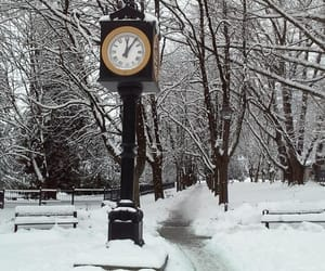 clock, scenery, and winter image