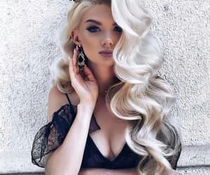 black, long hair, and blonde image