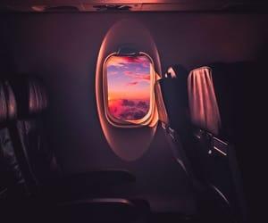 airplane, nightfall, and pink image