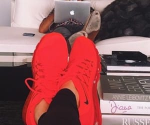 books, red sneakers, and style image