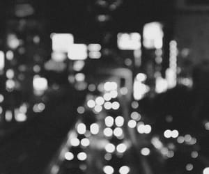 black and white, lights, and night image