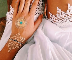 beautiful, white dress, and henna tattoo image