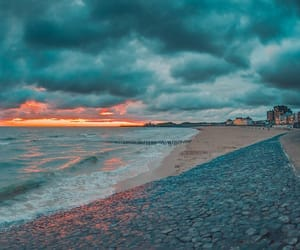 beach, blue, and sunset image