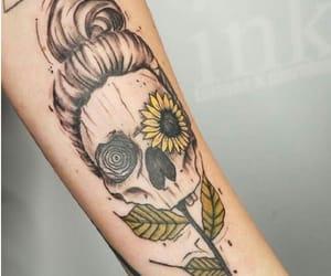 art, bun, and flowers image