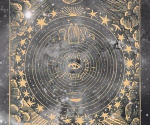 gold, moon, and witch image