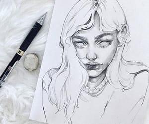 art, sketch, and girl image