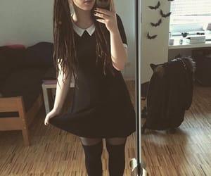 dreadlocks, goth girl, and dreads image