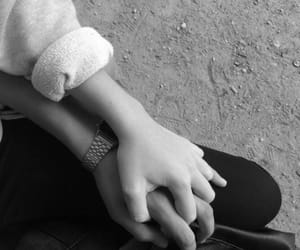 black and white, boy, and holding hands image