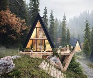 forest, wonderful places, and log cabin image