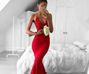 red prom dresses, v-neck prom dresses, and red mermaid prom dresses image