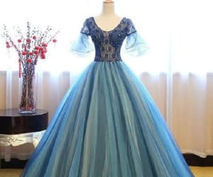 blue prom dress, beautiful prom dress, and evening dress ball gown image
