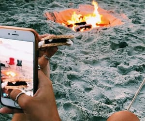 beach, fire, and smores image