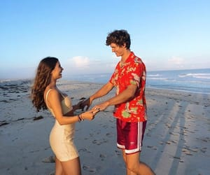 couple, ansel elgort, and beach image