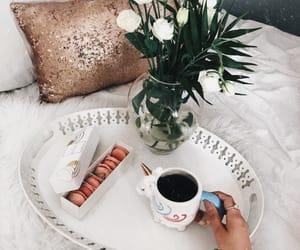 breakfast, flowers, and breakfast in bed image