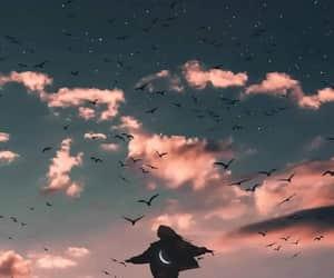 bird, moon, and sky image