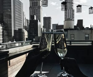 champagne, city, and drink image