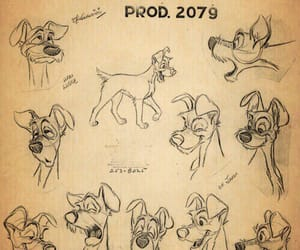 disney, drawing, and lady and the tramp image