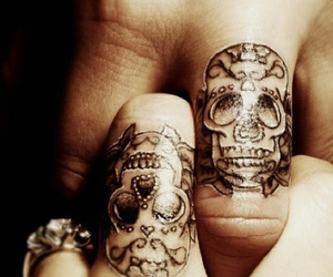 mexican skull, skull, and tattoo image