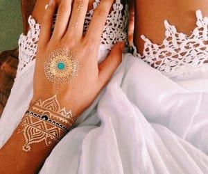 beautiful, girl, and henna tattoo image