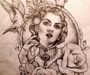 tattoo, bird, and drawing image