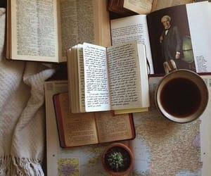 books, coffee, and old image
