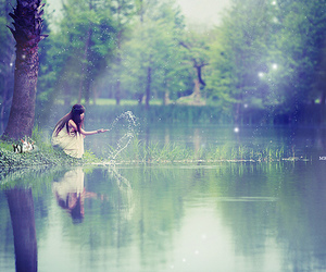 girl, lake, and water image