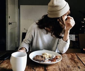 food, hat, and coffee image