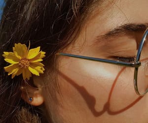 flower, girl, and yellow image