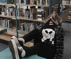 book, grunge, and library image