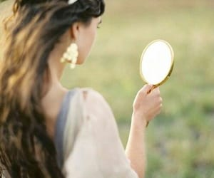 girl, mirror, and hair image