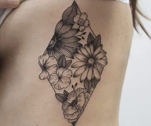 body art, flowers, and flower tattoo image