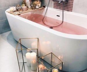 bathroom, pink, and bath image