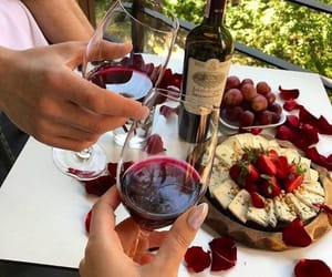 wine, cheese, and date image