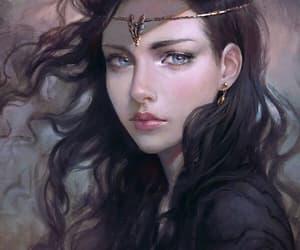 black hair, fantasy, and girl image