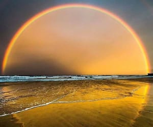 arco iris, mar, and sol image
