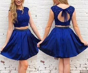 homecoming dress, two pieces dress, and royal blue dress image