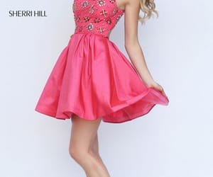 short prom dresses, 2017 homecoming, and sherri hill coral image