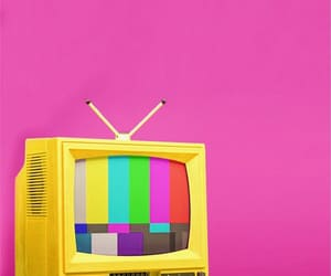 stripes, tv, and pink and yellow image