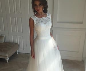 lace wedding dress, sleeveless wedding dress, and wedding dress white image