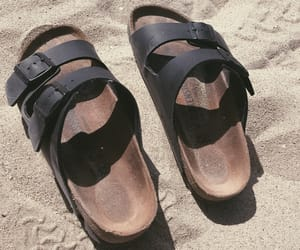 beach, birkenstock, and sand image