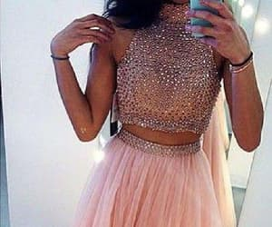 dress, pink, and high neck prom dress image