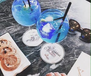 cocktail, drink, and blue image