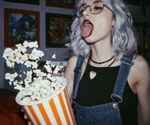 girl, popcorn, and aesthetic image