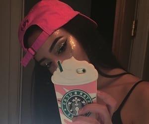 makeup, pink, and starbucks image