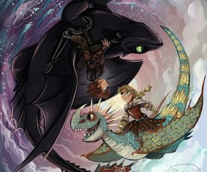 astrid, toothless, and dragon image