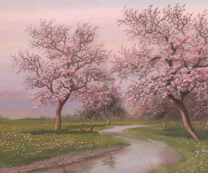 art, cherry blossom, and paint image