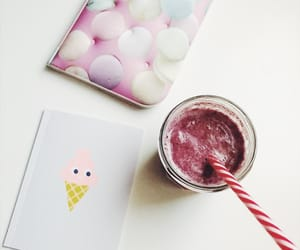 notebook, smoothie, and cute image