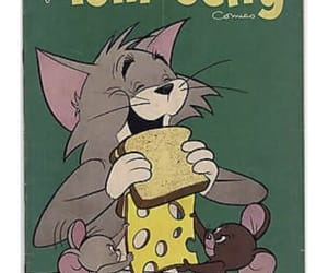 cartoon, cat, and cheese image